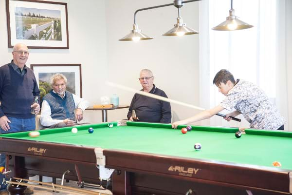 over 55 living pool table